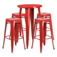 Flash Furniture 5-Piece Round Metal Bar Table and Stackable Bar Stool Set in Red
