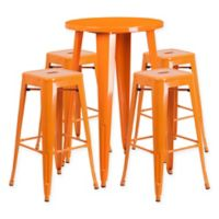 Flash Furniture 5-Piece Round Metal Bar Table and Stackable Bar Stool Set in Orange