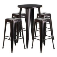 Flash Furniture 5-Piece Round Metal Bar Table and Stackable Bar Stool Set in Black/Gold