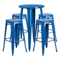 Flash Furniture 5-Piece Round Metal Bar Table and Stackable Bar Stool Set in Blue