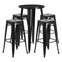 Flash Furniture 5-Piece Round Metal Bar Table and Stackable Bar Stool Set in Black