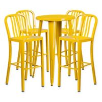 Flash Furniture 5-Piece Round Metal Bar Table and Stools Set in Yellow