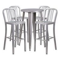Flash Furniture 5-Piece Round Metal Bar Table and Stools Set in Silver
