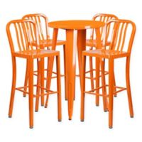 Flash Furniture 5-Piece Round Metal Bar Table and Stools Set in Orange