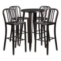 Flash Furniture 5-Piece Round Metal Bar Table and Stools Set in Black Gold