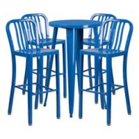Flash Furniture 5-Piece Round Metal Bar Table and Stools Set in Blue