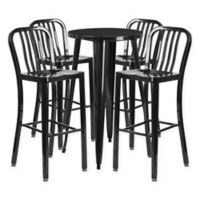 Flash Furniture 5-Piece Round Metal Bar Table and Stools Set in Black