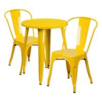 Flash Furniture 3-Piece Round Metal Table and Stackable Chairs Set in Yellow