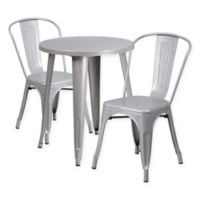 Flash Furniture 3-Piece Round Metal Table and Stackable Chairs Set in Silver
