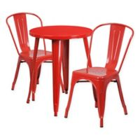 Flash Furniture 3-Piece Round Metal Table and Stackable Chairs Set in Red
