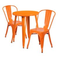 Flash Furniture 3-Piece Round Metal Table and Stackable Chairs Set in Orange