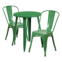 Flash Furniture 3-Piece Round Metal Table and Stackable Chairs Set in Green