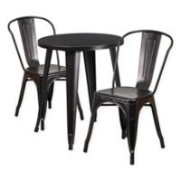 Flash Furniture 3-Piece Round Metal Table and Stackable Chairs Set in Black/Gold