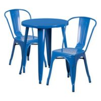 Flash Furniture 3-Piece Round Metal Table and Stackable Chairs Set in Blue