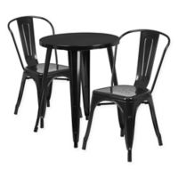 Flash Furniture 3-Piece Round Metal Table and Stackable Chairs Set in Black