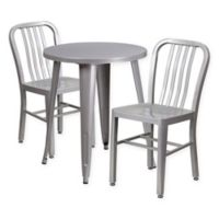 Flash Furniture 3-Piece Round Metal Table and Chairs Set in Silver