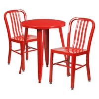 Flash Furniture 3-Piece Round Metal Table and Chairs Set in Red