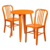 Flash Furniture 3-Piece Round Metal Table and Chairs Set in Orange