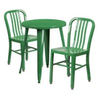 Flash Furniture 3-Piece Round Metal Table and Chairs Set in Green