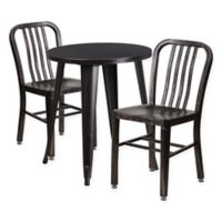 Flash Furniture 3-Piece Round Metal Table and Chairs Set in Black/Gold