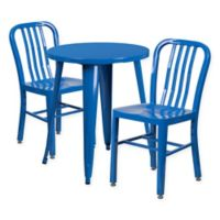 Flash Furniture 3-Piece Round Metal Table and Chairs Set in Blue