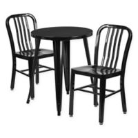 Flash Furniture 3-Piece Round Metal Table and Chairs Set in Black