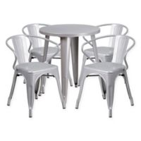 Flash Furniture 5-Piece 24-Inch Round Metal Table and Stackable Arm Chairs Set in Silver