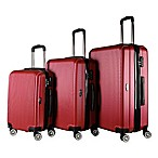Brio Luggage #1310 Thin-Ribbed Hardside 3-Piece Spinner Luggage Set in Wine