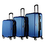 Brio Luggage #1310 Thin-Ribbed Hardside 3-Piece Spinner Luggage Set in Blue
