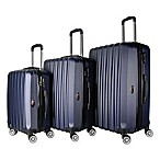 Brio Luggage #1600 Mid-Ribbed Hardside 3-Piece Spinner Luggage Set in Navy