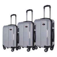 Brio Solid Ribbed 3-Piece Hardside Spinner Luggage Set in Silver
