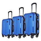 Brio Solid Ribbed 3-Piece Hardside Spinner Luggage Set in Blue