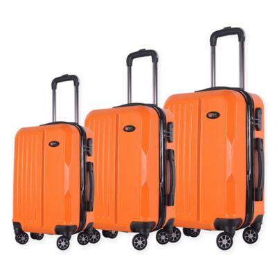 brio solid ribbed 3 piece hardside spinner luggage set in orange - Burnt Orange Bath Set