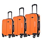 Brio Solid Ribbed 3-Piece Hardside Spinner Luggage Set in Orange