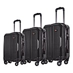 Brio Solid Ribbed 3-Piece Hardside Spinner Luggage Set in Black