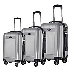Brio Geo Ribbed 3-Piece Hardside Spinner Luggage Set in Silver