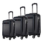 Brio Geo Ribbed 3-Piece Hardside Spinner Luggage Set in Black