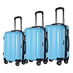 Brio Mid-Thin Ribbed 3-Piece Hardside Spinner Luggage Set in Blue