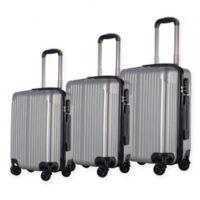 Brio Center Rib 3-Piece Hardside Spinner Luggage Set in Silver
