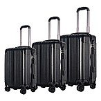 Brio Center Rib 3-Piece Hardside Spinner Luggage Set in Black