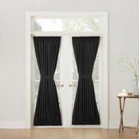 Sun Zero Bella 72-Inch Room Darkening Rod Pocket Door Panel in Black