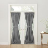 Sun Zero Bella 72-Inch Room Darkening Rod Pocket Door Panel in Grey