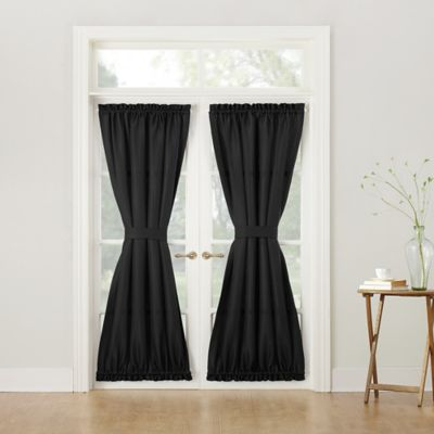 918 Montego Casual Textured 72 Inch Rod Pocket Door Curtain Panel In Black