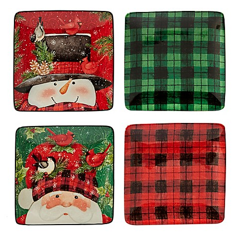 certified international winter 39 s plaid by susan winget canape plates set of 4 bed bath beyond. Black Bedroom Furniture Sets. Home Design Ideas