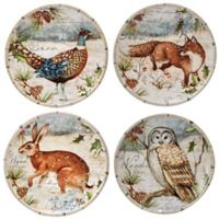 Certified International Winter Lodge Canape Plates in Beige (Set of 4)