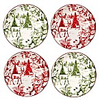 Certified International Winter Field Notes Tolie Canape Plates in Red (Set of 4)