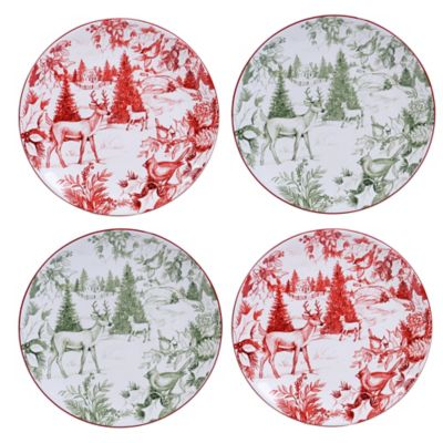 Certified International Winter Field Notes Toile Dessert Plates in Red (Set of 4)  sc 1 st  Bed Bath \u0026 Beyond & Buy Red Toile from Bed Bath \u0026 Beyond