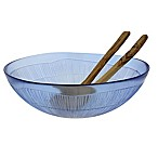French Home Birch 3-Piece Salad Serving Set in Blue/Olive Wood