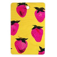 Deny Designs Strawberries 16-Inch x 10.5-Inch Rectangular Wood Cutting Board in Yellow/Pink