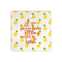 Deny Designs Pinapple Pina Coladas 11.5-Inch Square Cutting Board in Yellow